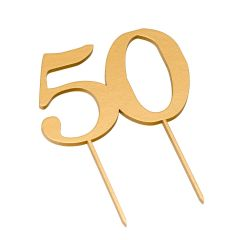 Cake topper 50 in golden color 17cm.