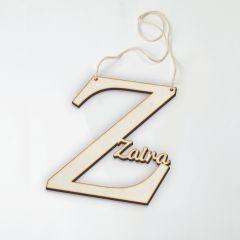 Colgante de madera letra Z con nombre 12,5x12,5cm aprox.