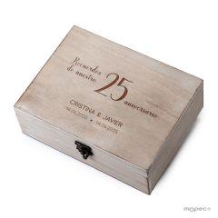 Cofre madera 25 Aniversario Recuerdos  personalizado