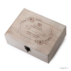Baule in legno 50 ° Anniversario personalizzato per souvenir