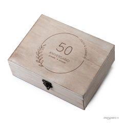 Cofre madera 50 Aniversario ramitas personalizado