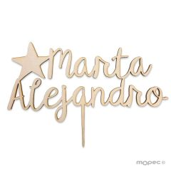 Cake topper wooden names and star 15cm. aprox.