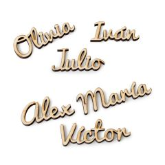 Personalized wooden name for dish 2,5cm height approx.