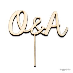 Cake topper wooden initials 15cm. aprox.