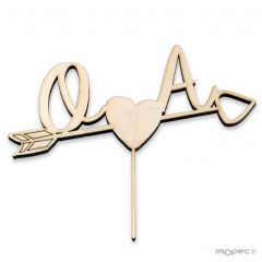 Cake topper wooden initials and arrow heart 12cm. aprox.