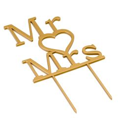 Cake topper Mr & Mrs. in golden color 21cm.