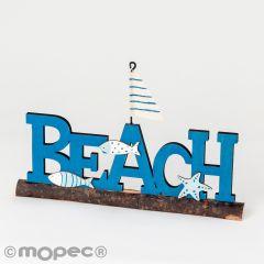 Affiche en bois Beach 20x12cm.