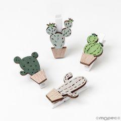 Pince en bois cactus 4 modèles assort. 2,5x3,7cm