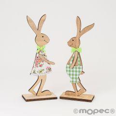 Easter wooden rabbit figure 23cm 2 assorted