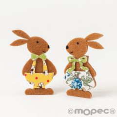 Felt rabbits flower dress peg 2assorted 6cm