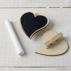 Pinza corazón de pizarra (5cm.) NATURAL tiza incluida