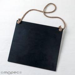 Pizarra negra con cordel 30x27x0,5cm.