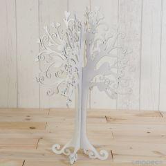 Árbol-joyero de madera color blanco 40cm.
