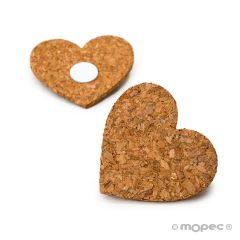Corazón corcho con adhesivo 6x5,5x0,3cm., min.6