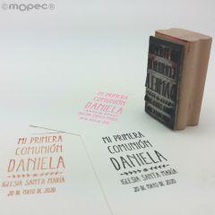 Sello personalizado rect. Comunión Espigas 3x5,5 cm.
