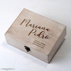 Cofre madera 23x17cm personal.Pequenas e grandes recordações