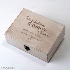 Cofre madera personalizado 23x17cm Tota historia d'amor...