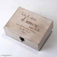 Cofre madera personalizado 23x17cm Tutte le storie d'amore..