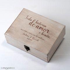 Cofre personalizado 23x17cm Toda a história de amor é nossa