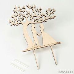 Cake topper madera novios Árbol de la Vida 17x18cm,