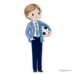 Figura 2D adhesiva niño Comunión con pelota 11cm. min.6