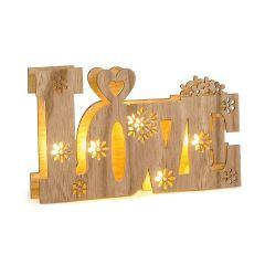 Dec. madera Love con luces led 21x13cm.incl. 2 pilas