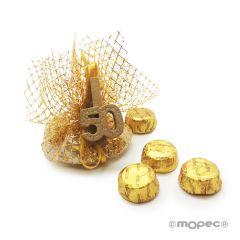 Pinza madera dorada 50 aniversario con 4 torinos*
