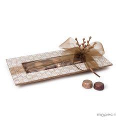 Bandeja madera 14 bombones con flores talladas