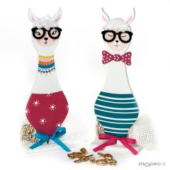 Wood llama with glasses figure 8 minifruits, 2asstd.