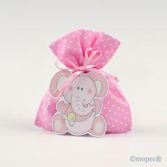 Colgante madera elefante rosa en saco topos rosa 5pel.