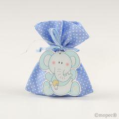 Colgante madera elefante azul en saco topos azul 5pel.