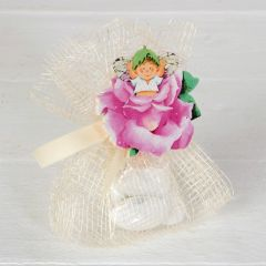 Wooden clip baby on pink flower 5,5cm