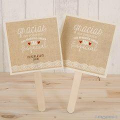 Abanico de papel para bodas  Gracias sin vosotros... min.25