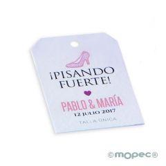 Tarjeta stiletos rosa personalizable, (preciox36u.)min.36