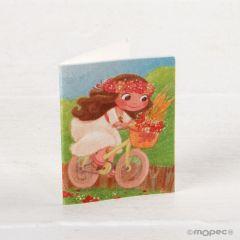 Tarjeta librito Comunión niña en bici, precio 100u.