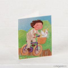 Tarjeta librito Comunión niño en bici, precio 100u.