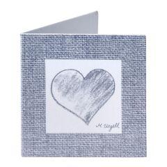 Tarjeta librito corazón color gris, preciox100uds