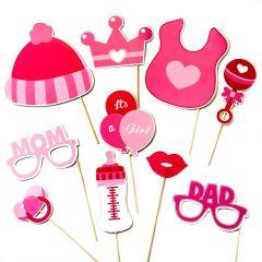 Set de postizos infantil en color rosa, 10 piezas