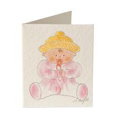 Biglietto libro neonato rosa, prezzo x 100pz