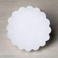 Etiquetas adh. blanca ondas Ø4,5cm.1hj=24u.min.5
