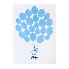 Lámina para enmarcar body azul con globos 29,5x42cm.