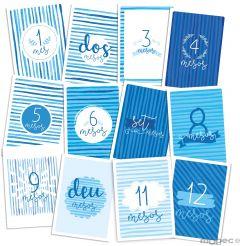 Set di 12 biglietti azzurri per i 12 mesi, 15x21cm