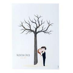 Lámina para enmarcar árbol de huellas boda Pop&Fun 29,5x42cm