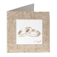 Tarjeta librito 8,1 x 4,1cm. anillos, disponible en gris o beige