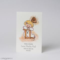 Card communion girl praying, price of 25u.