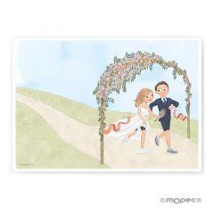 Lámina para firmas novios corriendo boda Pop&Fun 29,5x42cm