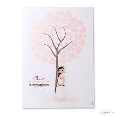 Lámina firmas niña Comunión romántica 42x29,5cm