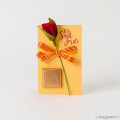Tarjetón Sant Jordi 1napolitana con rosa fieltro*