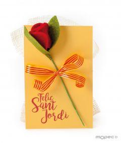 Tarjetón Sant Jordi 3 bombones con rosa fieltro*