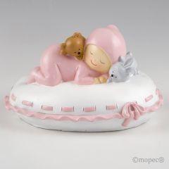 Figura para pastel + hucha bebé almohada rosa 16x10x14cm